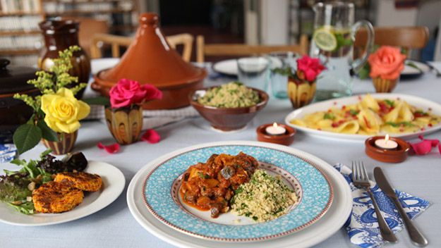 The healthy vegetarian dinner party: This menu of macademia nut roast,  aubergine and chestnut tagine with herb couscous, and the perfectly presented pudding of pineapple and passion fruit salad with pomegranate is perfect for any occasion.