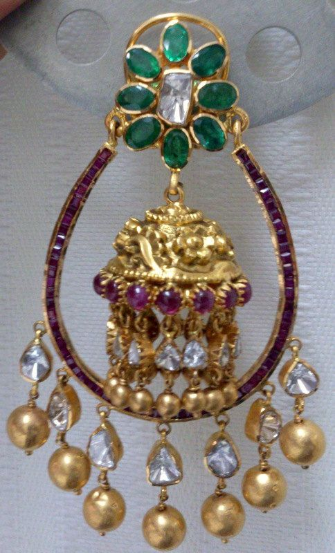 Diamond Gold Emerald Ruby Earrings 22 K solid gold by TRIBALEXPORT, $9500.00