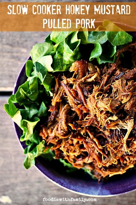 Slow-Cooker Honey Mustard Pulled Pork. Easy, spectacular, #MemorialDay food!