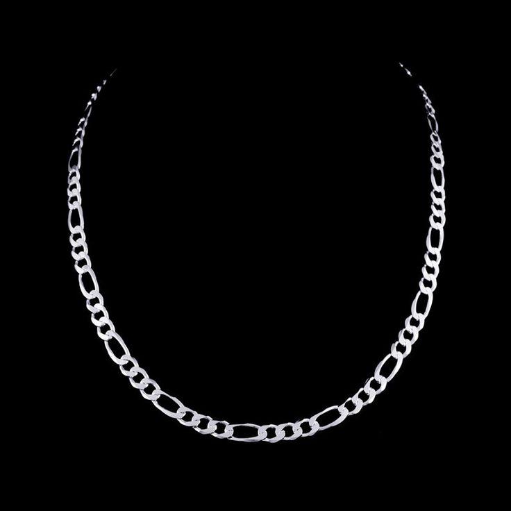 Corrente prata 925 modelo figaro 3x1. Comprimento: 70 cm. Largura: 5,0 mm. Peso medio: 18,6 g.