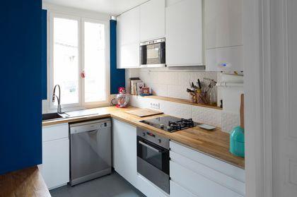 Photo cuisine blanche et bois cuisine blanche cuisine - Cuisine blanche ouverte sur salon ...