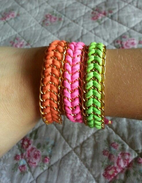 Leather and chain bracelets