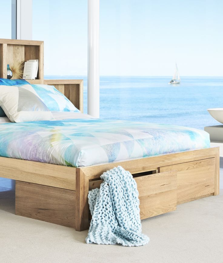 This beautiful Reflections quilt cover by Linen House features contemporary and fun pastels. Pair it with the sandy timber hues of the Brookhaven suite from Bedshed to complete your beach house bedroom style.