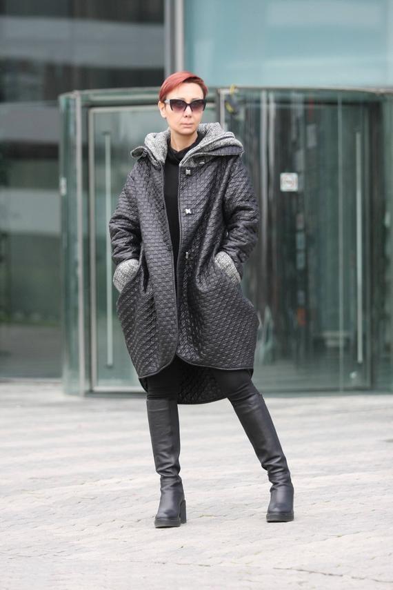 Coat for women, Hooded coat women, Designer black jacket, Extravagant padded jacket, Warm hooded jac 2