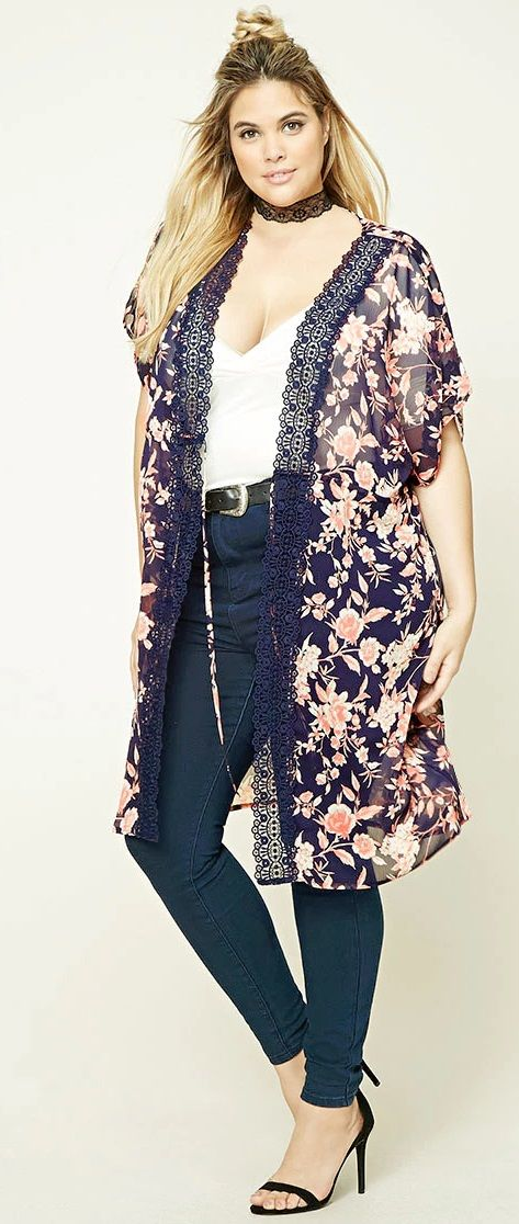 Plus Size Self-Tie Kimono - Plus Size Fashion for Women