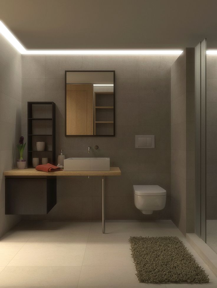 Bathroom renovation in Faliro, Athens, Greece. #bathroom #renovation #modern #tiles #cementtiles #shower #hiddenlights #lightdesign #furnituredesign #interiordesign #digitalphotography #3Dvisualization