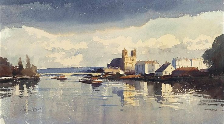 Edward Seago. View Evening after storm, Nantes, France. watercolour on paper. 15.5 X 22 in. (39.37 X 55.88 cm.)
