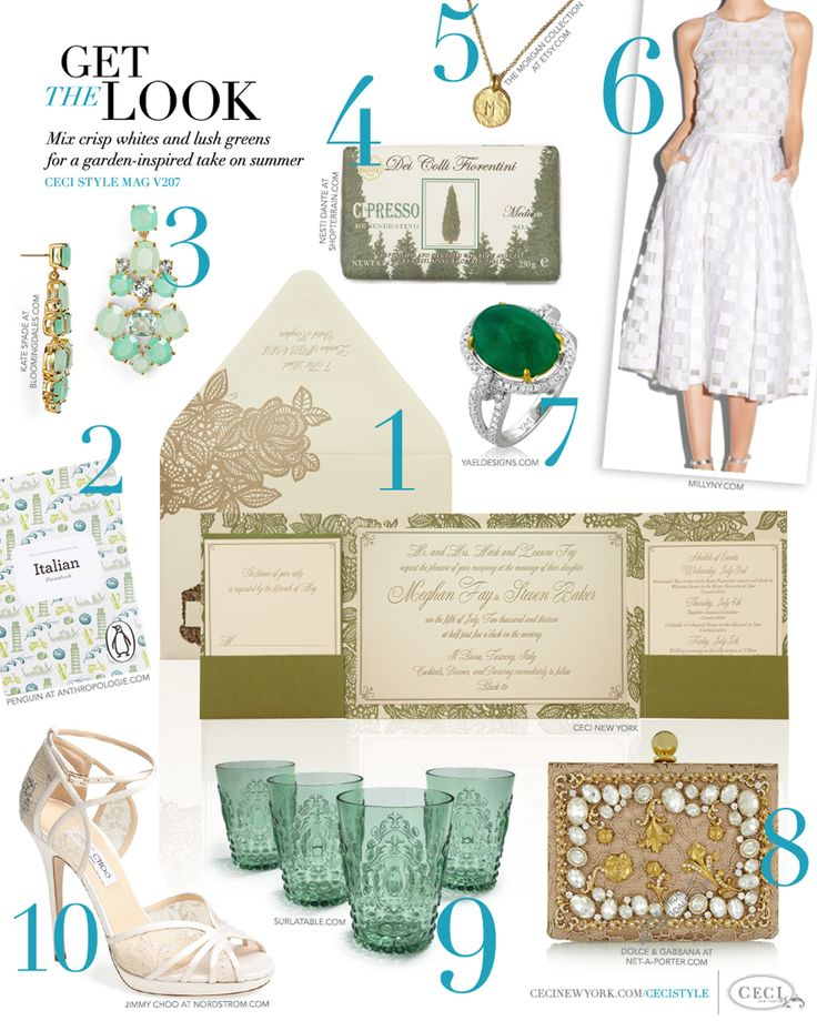 CeciStyle Magazine v207: Get The Look - Garden Gorgeous - Mix crisp whites and lush greens for a garden-inspired take on summer - Luxury Wedding Invitations by Ceci New York - home goods, beauty, jewelry, fashion, shoes, food, handbag, book, milly, kate spade, yael, ceci new york, anthropologie, jimmy choo, sur la table, dolce & gabbanna, shop terrain, invitation, luxury, wedding, gift