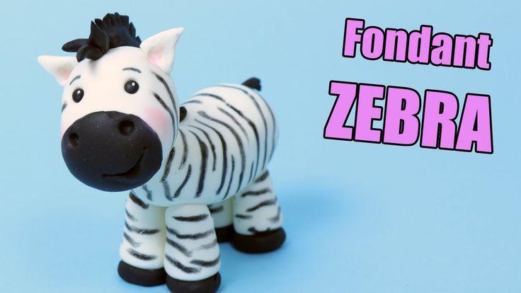 ZEBRA cake topper tutorial! How to make fondant zebra | Fondant cake dec...