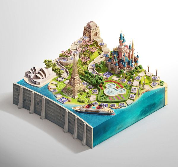 Disney Vacation Club Sweepstakes by Peter Jaworowski, via Behance.    Crazy amount of detailing on this project. Must have been a real headache, but also lots of fun at the same time.