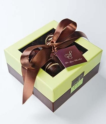 Dr. Sue's Chocolate  Gourmet Candy in Irving, TX features our Pistachio  Chocolate gourmet presentation box.  http://www.nashvillewraps.com/pages/candy_packaging/ShowPage.ww?Page=candy