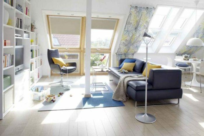 Wohnzimmer im dachgeschoss einrichten moderne moebel1 resized - dachschrge vorhang