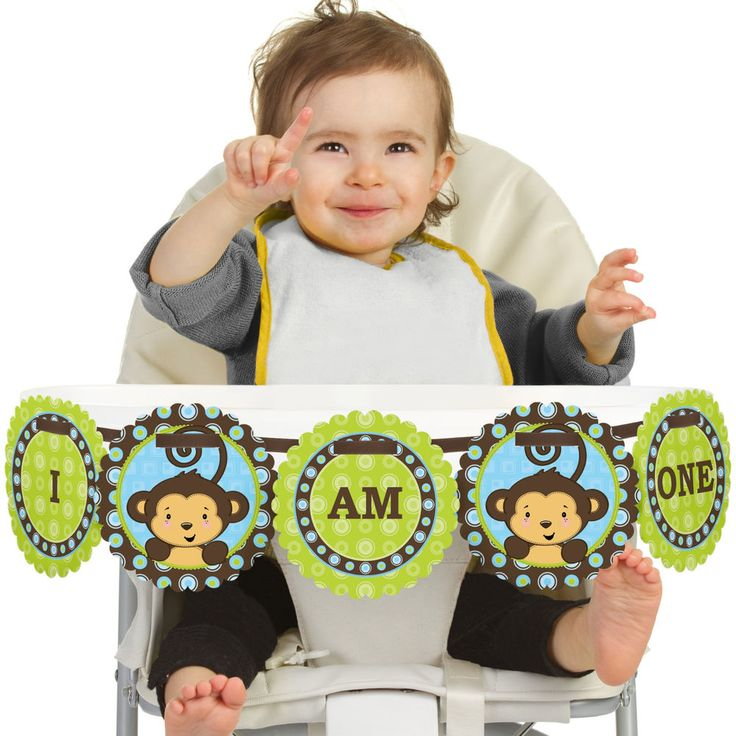 Monkey Boy - High Chair Birthday Party Banners #BigDotofHappiness #1stBirthdayPartyBirthdayParty
