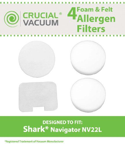 #Shark Navigator #NV22L Foam and Felt Replacement Filter Kit 4-Pack by Crucial Vacuum. Replaces Shark Navigator Part # XF22. This replacement filter kit fits the ...