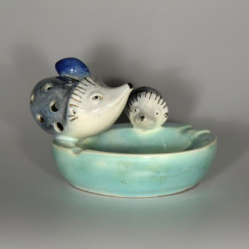 Bohemian Czech Ditmar Urbach Pottery Ashtray with Hedgehogs