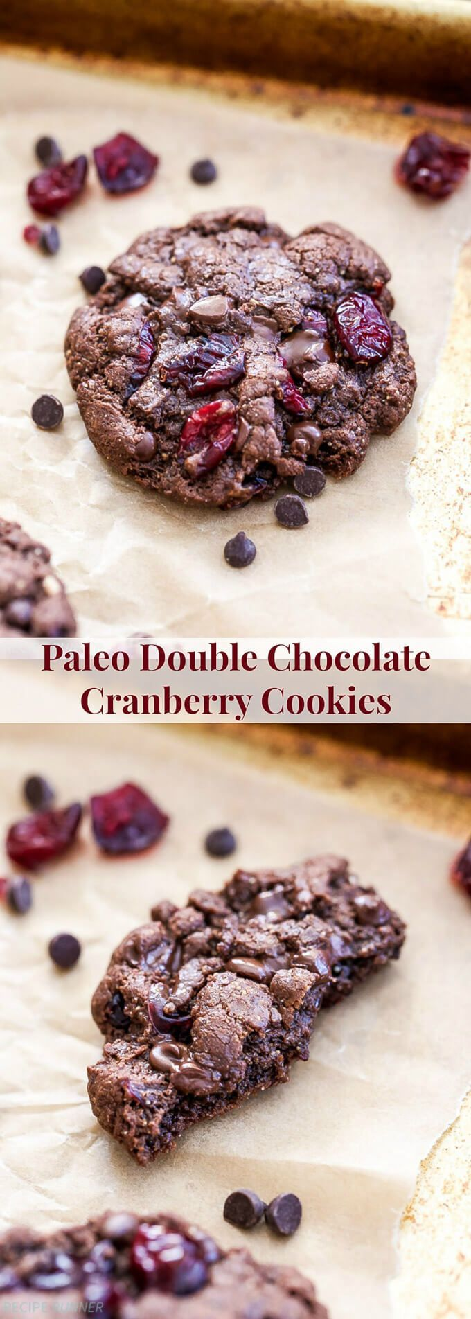 Chewy on the outside with a soft brownie-like interior. These Paleo Double Chocolate Cranberry Cookies are perfect for the holiday season or anytime you get that chocolate cookie craving!: