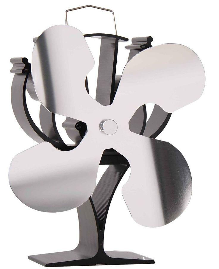 Nouveau conçu 4 Lames Chaleur Powewerered Cuisinière Ventilateur pour bois/log brûleur/cheminée-Eco Friendly (Nickel)