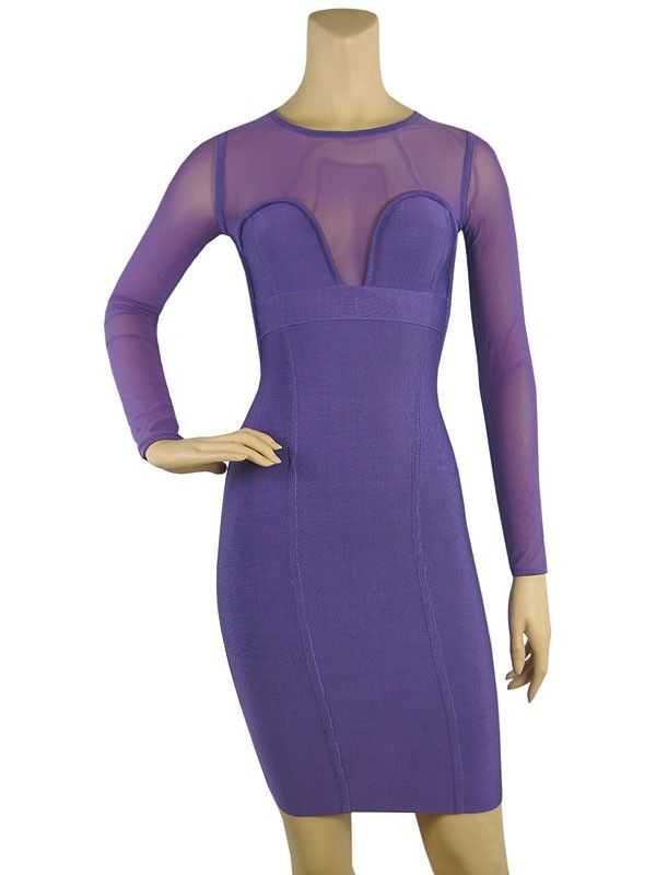 Long Sleeve Purple Dress   ... DRESSES » Herve Leger Long Sleeve Signature Purple Bandage Dress