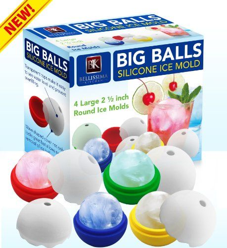 Kitchen Gadgets: Big Balls Silicone Ice Mold - Set of 4 X 2.5 Inch Large Silicone Round Sphere Ice Ball Maker Mold - Perfect for Whiskey Shot Glass, Wine, Fruit Flavor Drinks - The Novelty Ice Balls Melt Slower Than Cubes - BPA Free Bellissima Kitchen