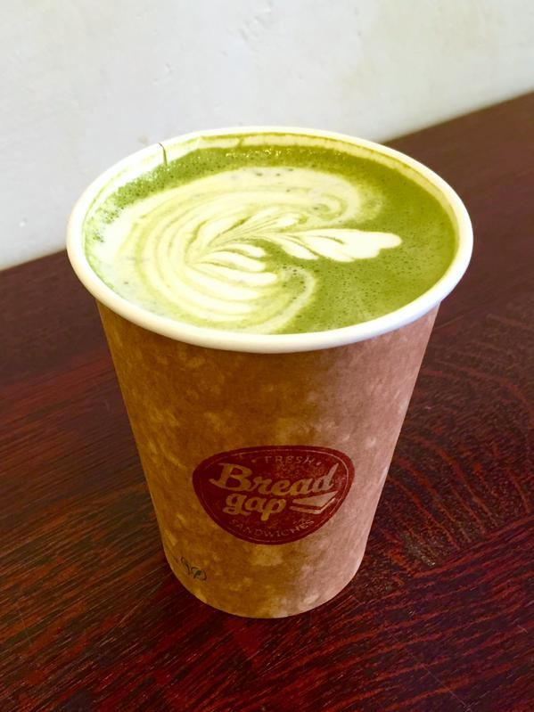 @breadgap: Matcha Latte in Bread Gap! #matcha #matchalatte #breadgap #latte #greentea