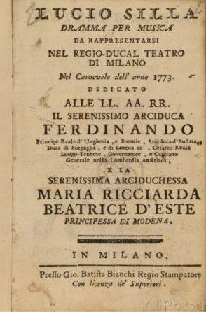 Frontispiece from Mozart's 'Lucio Silla', performed in Milan in 1773