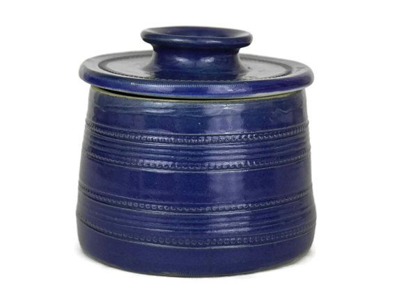 Rustic Butter Dish with Lid. French Vintage Cobalt Blue Butter