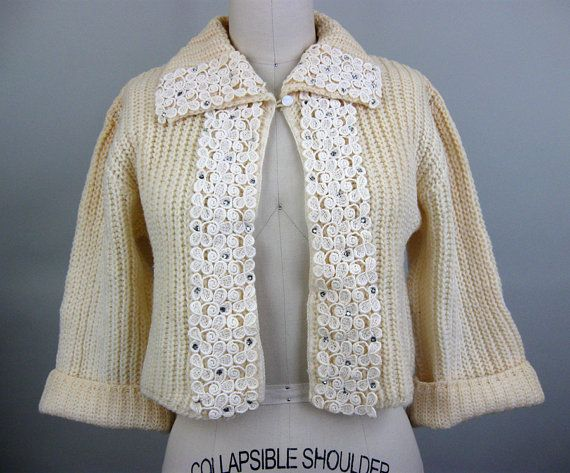 Vintage 50s RHINESTONE LACE Crop Cardigan Sweater, $45.00