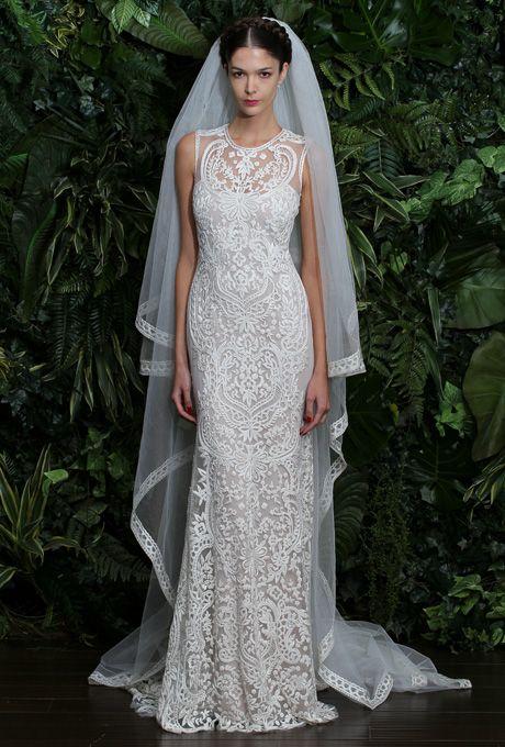 "Brides.com: Our Favorite Lace Wedding Dresses from the Bridal Runways. ""Valencia"" wedding dress, Naeem Khan  See more sheath wedding dresses."