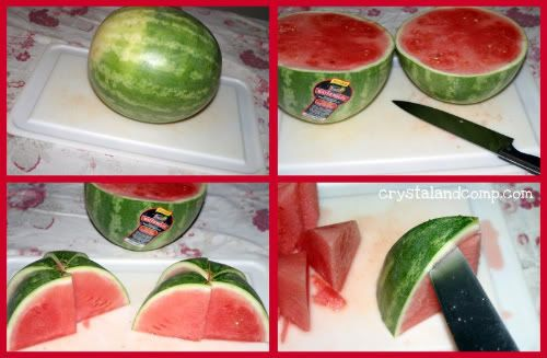 The Less Messy Way to Cut a Watermelon- great idea to get that watermelon cut quickly!: Recipes Fruits, Cut A Watermelon, Food Ideas, Ideas Good, Watermelon Cut, Cut Watermelon, National Watermelon, Great Ideas, Crafts