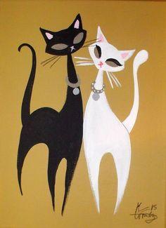 EL GATO GOMEZ PAINTING RETRO KITSCHY CATS 1950S EAMES MID CENTURY DANISH MODERN