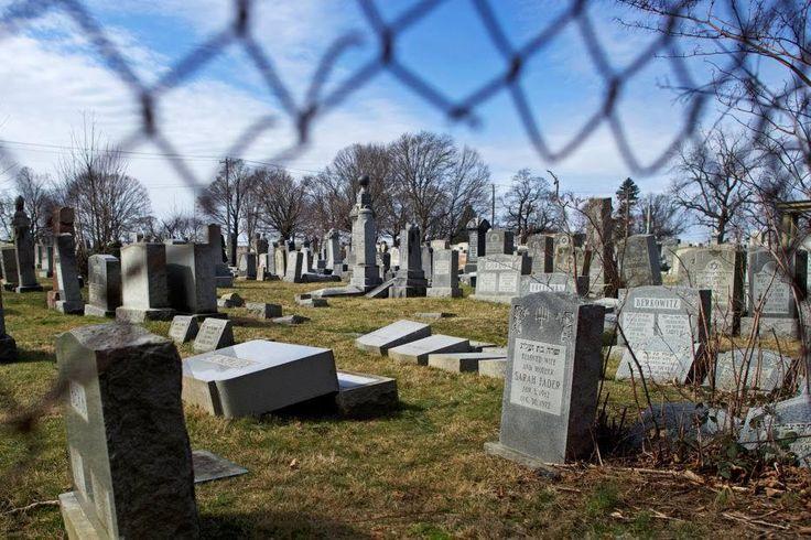 Vandalized Jewish tombstones at Mount Carmel Cemetery in Philadelphia, PA, February 27, 2017.
