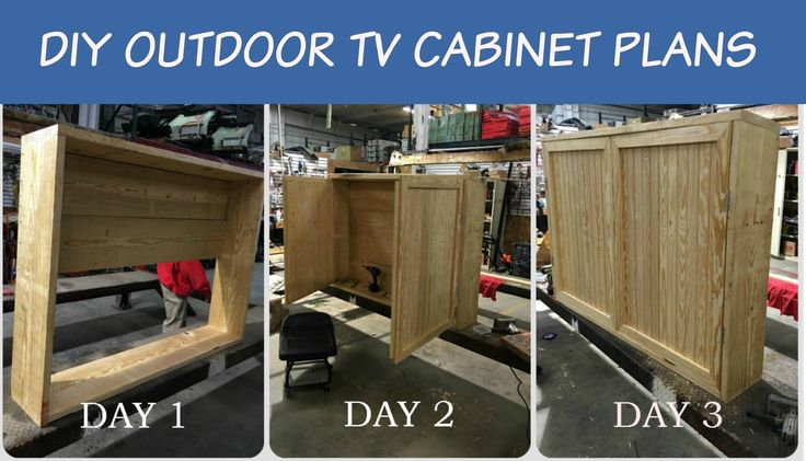 This DIY'er is ready to put the finishing touches on his Outdoor TV Cabinet. It typically takes 3 days to complete with these downloadable easy to follow plans with step-by-step instructions, material list & cutting list.