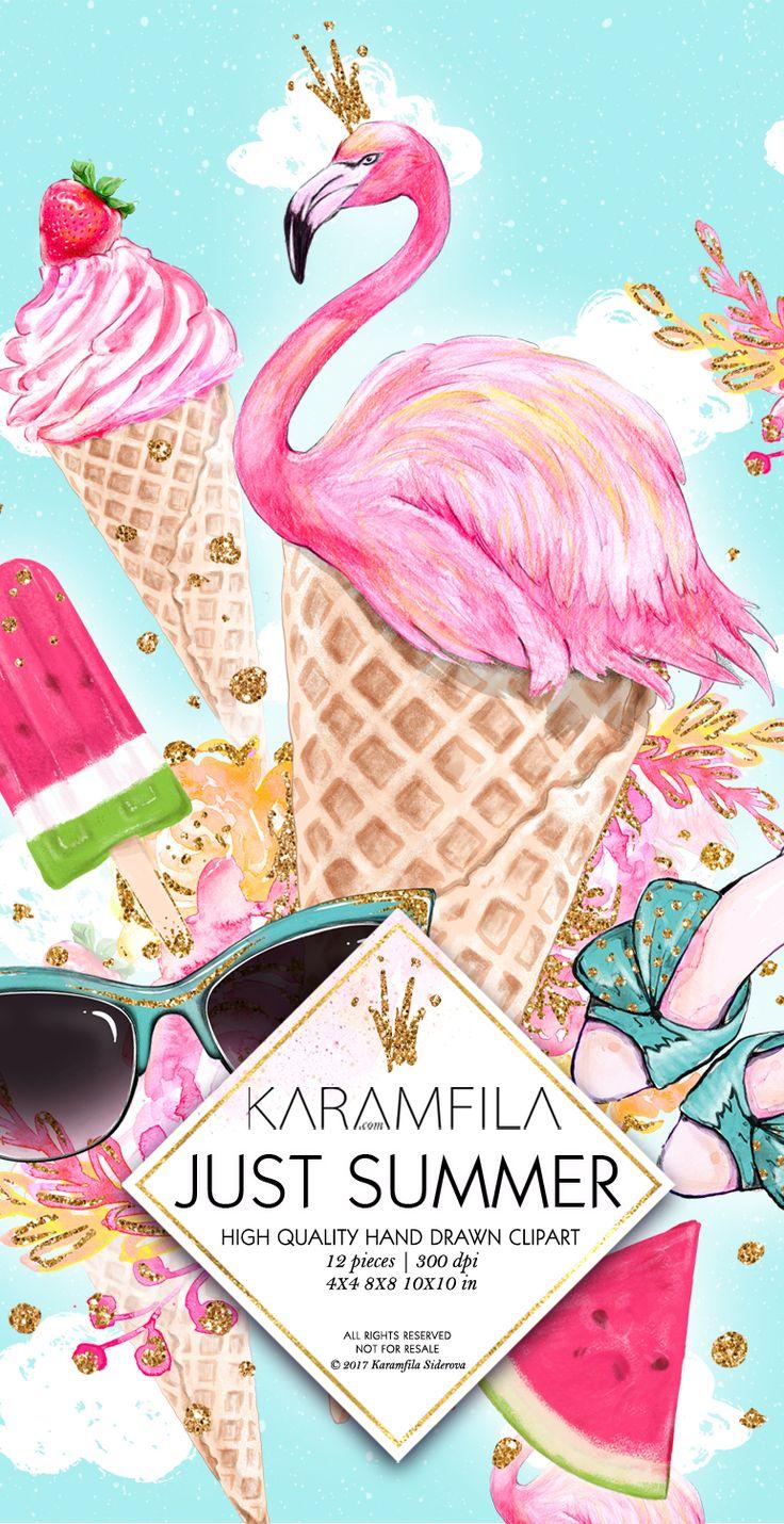 Flamingo Ice-Cream Watermelon Fashion Illustrations Summer Clipart by Karamfila Siderova Planner Supplies