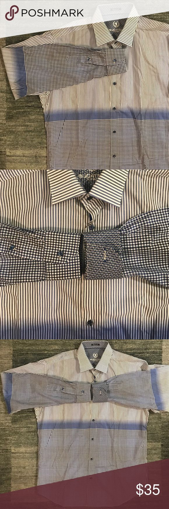 Mens Bugatchi Blue Two Toned Button Down Shirt Never worn Men's Button Down with detailed two toned pattern. The shirt fades from light blue to dark blue. Very stylish shirt that retails for over $150.                                        No Trades ❌ Posh Transactions Only ✔️ Bundles Welcome!✔️ All Items Come From a Smoke Free House 🚫🚬 Bugatchi Shirts Casual Button Down Shirts