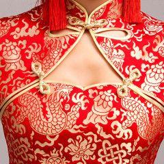 Golden dragon brocade red Chinese mandarin collar high slit cheongsam qipao bridal wedding dress