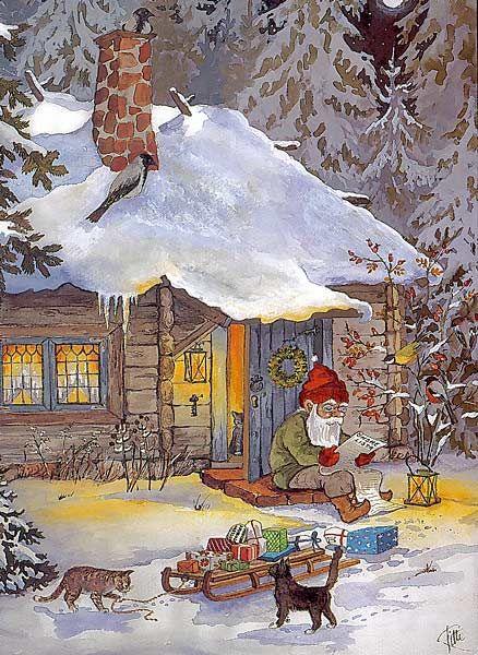 Jultomten tar en paus och läser tidningen på sin veranda ...