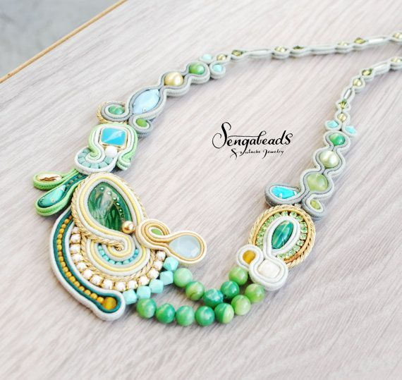 awesome Green jade and turquuise soutache necklace with a smack of gold. Handmade jewelry. Soutache jewelry. Special gift for her. Handmade necklace