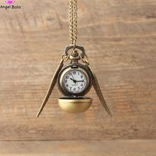 Venda quente Harry Potter Rodada Relógio de Bolso Colar de Pingente de Retro Snitch Steampunk Quidditch Asa Relógio Sweater Colares N-032(China (Mainland))