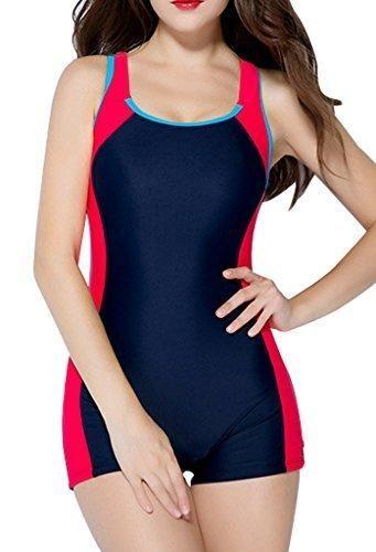 BeautyIns Womens One Piece Swimsuit Boyleg Swimwear Sports Boy short Swimming Costume Size 10 Red(fulfilled by Amazon)