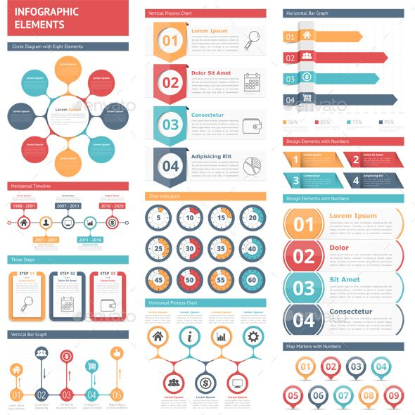 Infographic elements – circle diagram, timeline, bar graphs, design elements with numbers, workflow, steps, options, timers, process charts