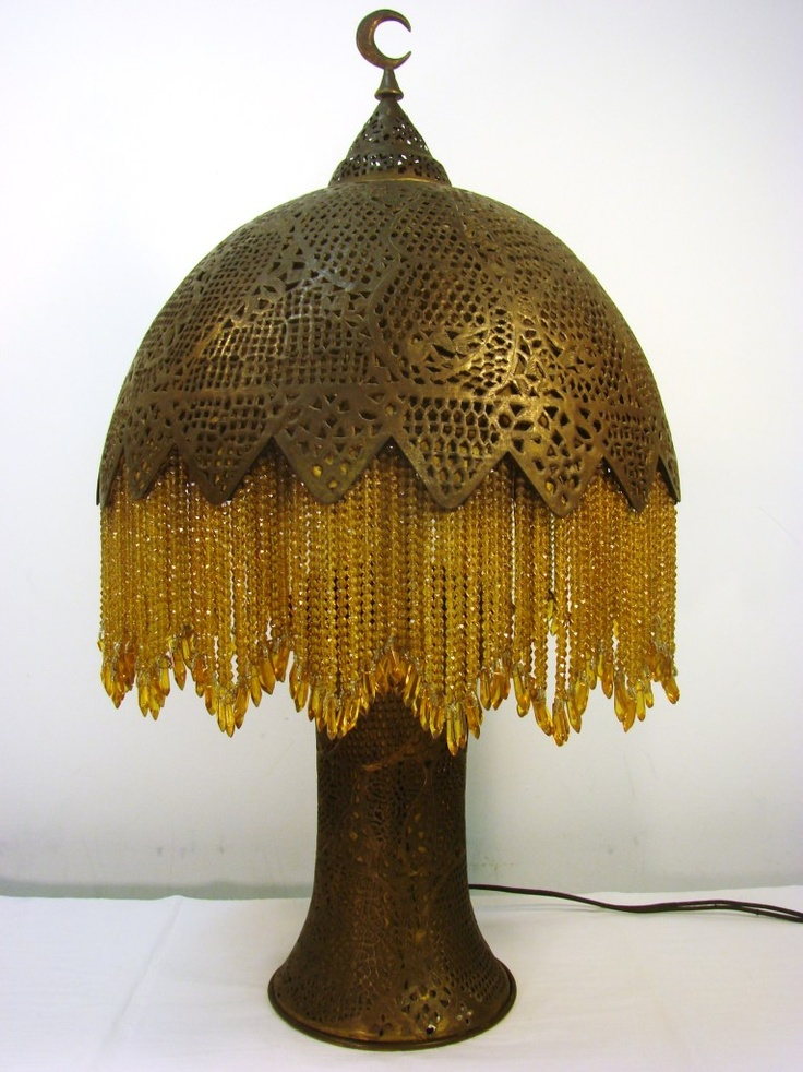 Antique Turkish Brass Table Lamp 1920s, Crystal Beads: Style
