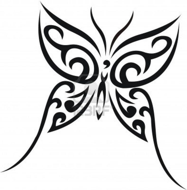 art deco butterfly line tattoos   Black Ink Tribal Butterfly Tattoo Design