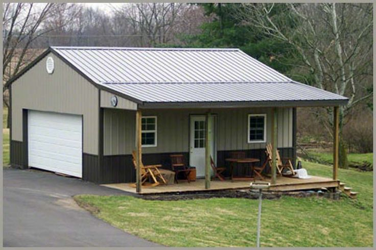 Front porch pole barn garage pinterest front porches for Metal garage pics