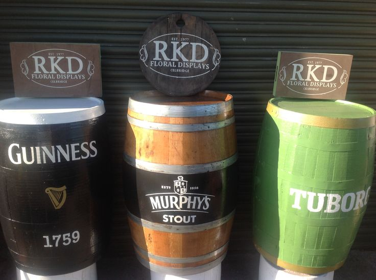 A choice of branded barrels done by RKD Floral Displays
