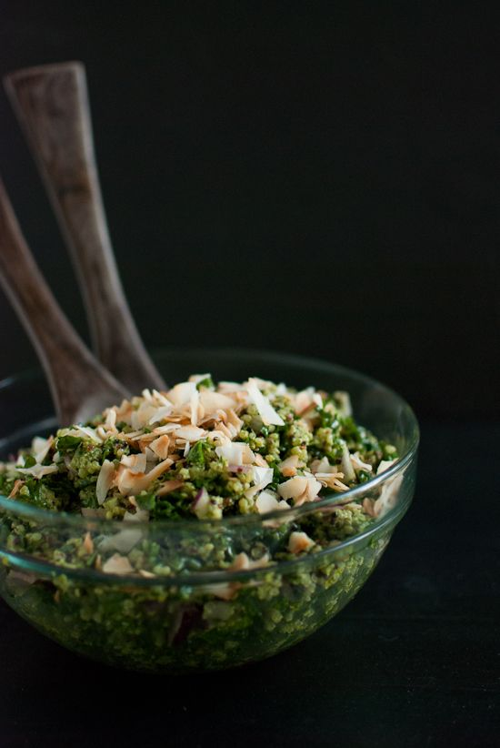 Coconut Quinoa and Kale with Tropical Pesto by #cookieandkate