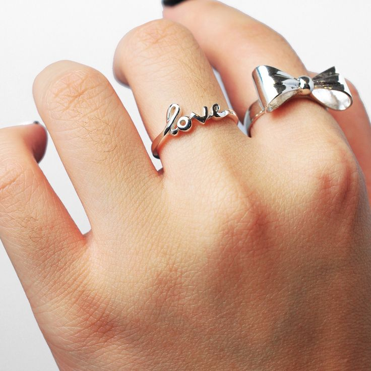 | Love this combi of our script ring & cute bows |  #stackers #rings #handcraftedjewelry #handmade #jewellery #jewelry #bows #sterlingsilver #cute #love www.pinchandfold.com