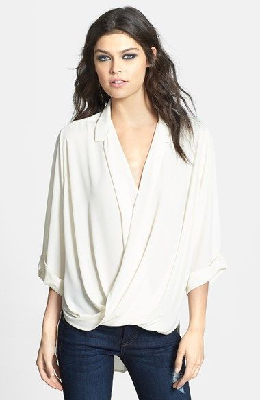 Free shipping and returns on Topshop Surplice Woven High/Low Top at Nordstrom.com. A lush surplice neckline softens this collared and cuffed blouse while a sweeping shirttail hem provides an airy silhouette.