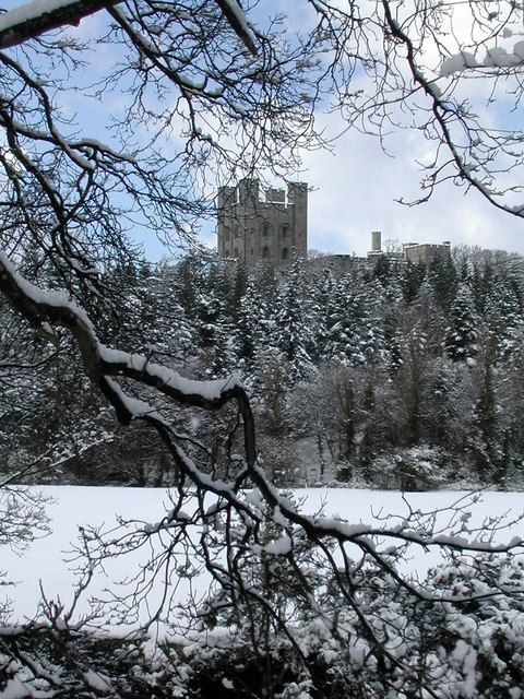Penrhyn Castle in the snow, Wales, UK