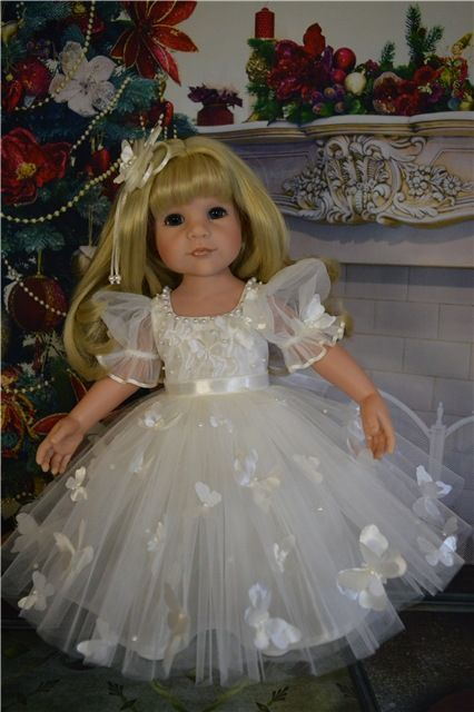 Нарядные платьица для куколок Готц из тонкого тюля и кружев. №1 Белоснежное платьице из тюля «Принцесса», пышное, с кружевными оборками / 2 200р