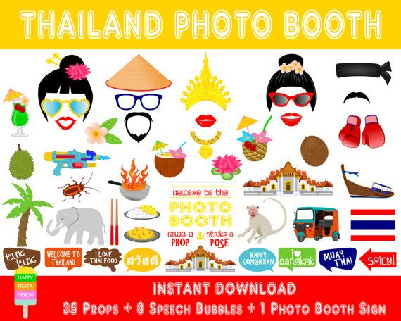 PRINTABLE Thailand Photo Booth Prop-Asia Party Props-Thailand Travel Photo Booth Props-Asia Thailand Photo Booth-Thai Props-Instant Download